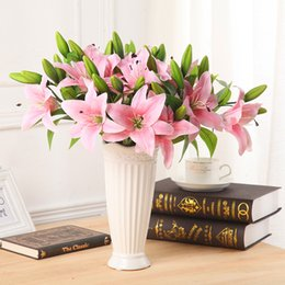 Fake Lilies Flowers Canada - Vivid Real Touch 3 Heads Artificial Lily Flower Fake Latex Bridal Bouquet Flower For Home Party Wedding Decor Wreath Office&Home Decor