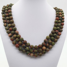 wholesale jasper necklaces Canada - 8mm 60 Inches Hand Knotted Matte Unakite Jasper Long Necklace ,Unakite Jasper Beads Necklace ,Gemstone Necklace,Gifts