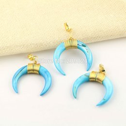 $enCountryForm.capitalKeyWord Canada - Fashion ~ 8Pcs Gold Plated Wire Wrap Blue Shell Crescent Moon Charms Pendants Jewelry Finding