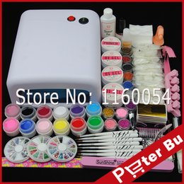 Wholesale- COSCELIA 36W UV GEL Lamp Primer Acrylic Glitter Nail Degreaser Top Nail Kit Bulbs UV Gel Nail Art Kits Rhinestones NailTool Kit from japanese cartoon dolls manufacturers