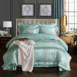 hand embroidered bedding NZ - Hot Green Luxury Court Embroidery Silk Printing Bedding Sets Full Queen King Size Satin Cotton Pillow Shams Bed Sheet Dovet Cover Comforter