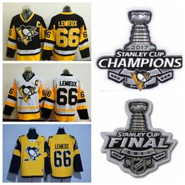 250fb50fc 2017 Stanley Cup Champions Pittsburgh Penguins 66 Mario Lemieux Jersey New  Yellow White ...