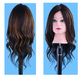 "Cosmetology Mannequin Wigs Canada - Natural black 18"" 100% Human Hair Cosmetology Mannequin Manikin Head for Professional Hairdressing Trainning and Practice with Clamp"