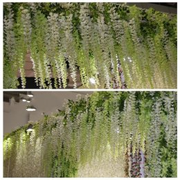 bulk wholesale artificial christmas flowers NZ - 2019 Glamorous Wedding Ideas White Artificial Silk Flower Wisteria Vine Wedding Decorations 3 forks per piece more quantity more beautiful