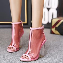 Heel Cakes Canada - Sell like hot cakes New Style women's high heels Zipper PVC Clear Crystal sandals ladies Square heel Peep Toe Sexy shoes woman size 35-40