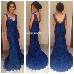 Barato Vestidos Deep Open Neck-2017 New Arrival Vestido De Festa Longo Tank Deep V Neck Backless Navy Blue Lace Prom Dresses Mermaid aberto de volta Vestidos de noite Longo