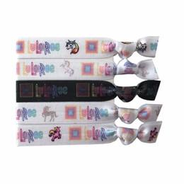 "Pony Ties Canada - 200pcs Hot Sale Lularoe Hair Tie Unicorn Print Elastic Hair Band 5 8"" Fold Over elastic Pony Tails Holder Girls Hair Band Bracelet Wristband"