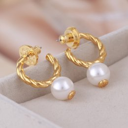 $enCountryForm.capitalKeyWord Canada - Brand name white Pearl beads in 1.0cm hoop Earring 18k gold plated women top quality jewelry free shipping PS5676