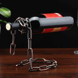 Wholesale Creative Popular Stand Floating Red Wine Bottle Rack Magic Rope Metal Chain Holder For Home Kitchen Bar rh KK