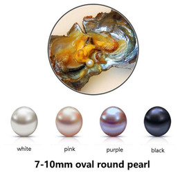Wholesale fresh Water pearl online shopping - 2017 Fresh Water Oyster Pearl Natural Oval Round Loose Pearl mm DIY Gift Decorations Vacuum Packaging White Pink Purpel Black