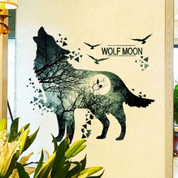 large forest wall stickers Australia - Wolf Moon Wall Sticker - PVC Material Forest Waterproof DIY Animal Wall Poster for Kids Rooms Decoration Wall Decal Ornament