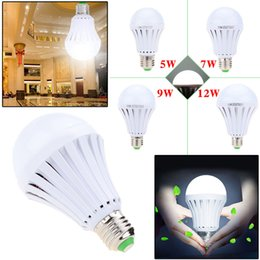 Discount rechargeable emergency light bulbs - LED Smart Bulb 3W 5W 7W 9W 12W led emergency light rechargeable battery E27 Lamp 2835smd bombillas AC110V 220V CE ROHS