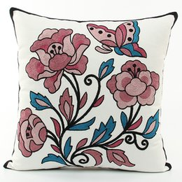$enCountryForm.capitalKeyWord UK - American Pastoral Flowers Butterfly Embroidered Cushion Covers Embroidery Cushion Cover Sofa Throw Decorative Cotton Pillow Case