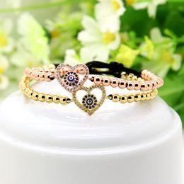 turkey charms 2019 - Wedding Bracelets 10pcs   lot 4mm High Brand Copper Beads With Heart Charm Turkey Religious Eye Cz Macrame Love Bracelet