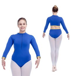 Barato Leotard De Ballet Amarelo-Two Tone Ballet Dance Royal Blue and Yellow Algodão / Lycra manga comprida Leotard Girls Pratique Vestuário Mulheres Bodysuit Tamanhos completos 16 cores