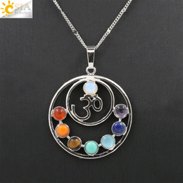 $enCountryForm.capitalKeyWord Canada - CSJA 2016 Hot Sale 7 Chakras Natural Stones Necklace Health Amulet Healing 7 Chakra OM AUM Charms Stone Pendants Necklaces Jewelry Gift E025