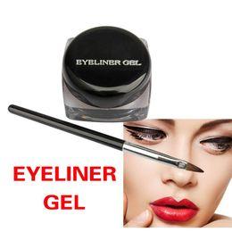 Full Eyeliner NZ - Wholesale- Black Waterproof Eyeliner Gel Makeup Cosmetic Gel Eye Liner With Brush Makeup Cosmetic Sets