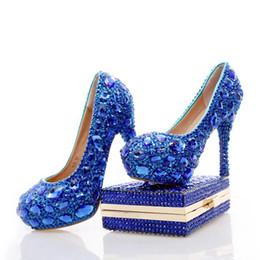 $enCountryForm.capitalKeyWord Canada - 2017 Blue Rhinestone Wedding Heels with Fashion Crystal Matching Bag Party High Heels with Clutch Bridal Shoes Lady Prom Pumps