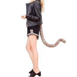 Barato Brinquedos Cauda Feminina-Vestuário de luxo New 90cm Faux Fur Outer Tell Tails Cat Tail Senhoras Traje de Halloween Solid Adjustable Strap Cosplay Tail Toy para Mulheres Z ...