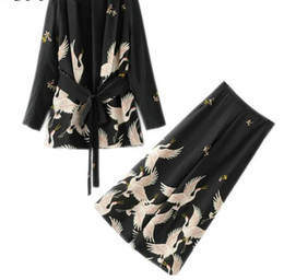 Discount suede blazers - New Women Palazzo Vintage Clothing Sets Crane Printed Blazer Wide Leg Retro Pant Female Bird Printed Outfit