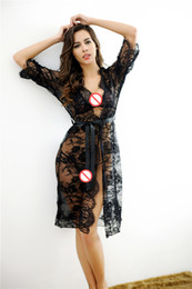 Poupée De Nuit Sexy Pas Cher-Transparent Lace Kimono Sexy Nighty Dress Intimate Sleepwear Robe Night Gown Femme Baby Doll Sexy Lingerie Pyjama Chemise de nuit