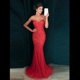 Barato Vestidos Formais Vermelhos Sexy Sem Costas-Sexy Sparkly Mermaid Vestidos de noite Sweetheart Sequins Beaded Tulle Andar Comprimento Backless Bling Prom Dresses Red Purple Vestido de Noiva Formal
