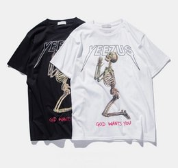 Camisas De Algodón Indias Baratos-Yeezus Tour Kanye West Hombres Camiseta Cotton Merch Indian Headdress Skull Red Letter Print manga cortaT-Shirts Summer Fashion Casual Tops Tees