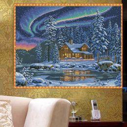 Oil Painting Round Australia - YGS-438 DIY Full 5D Diamond Embroider The Snow House Round Diamond Painting Cross Stitch Kits Diamond Mosaic Home Decoration