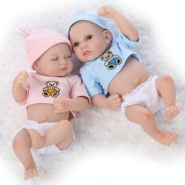 China 10 Inch 2 pcs Baby Boy Girl Reborn Doll Mini Cute Little Reborn Doll Full Silicone Vinyl Dolls Children Gifts suppliers