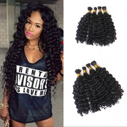 Discount brazilian crochet braiding hair - Human Braiding Hair Bulk No Weft Deep Wave Bulk Hair For Braiding Brazilian Human Hair Crochet Braids FDSHINE