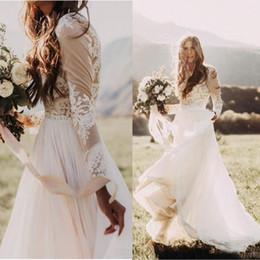 Line bateau chiffon Lace online shopping - Bohemian Country Wedding Dresses With Sheer Long Sleeves Bateau Neck A Line Lace Applique Chiffon Boho Bridal Gown Cheap
