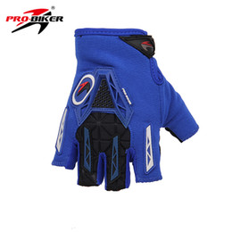 glove pro biker 2019 - Wholesale- PRO-BIKER Blue Motorcycle Gloves Half Finger knight riding motorbike Gloves summer breathable motorcycle chea