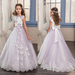 00deee832 Purple Beads Flower Girl Dresses Apliques de encaje Niñas se visten para la  boda Vestidos de comunión de mariposa con lazo