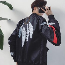 $enCountryForm.capitalKeyWord Canada - New Arrival Men's Casual Fashion Feather embroidery Jacket Students Baseball uniform Man Coat Tops