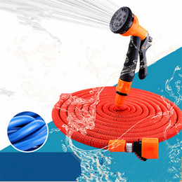 Expandable Water Hose Pipes Canada - Expandable Watering Hose 25FT 50FT 75FT Flexible Garden Pipe with Spray Nozzle Natural Latex Washing Car Pet Bath Hoses EU US Asia Version