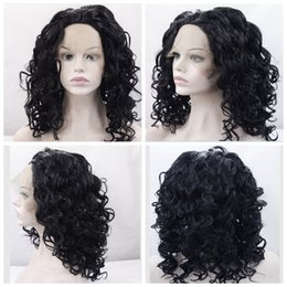 Discount dark green wig wavy - Synthetic Lace Front Wig Curly Wavy Hair Wigs For Black Women Short Hairstyles Nutural Black Color
