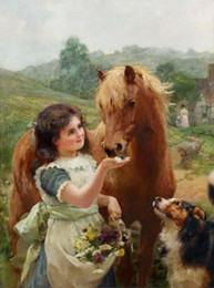 $enCountryForm.capitalKeyWord Canada - Alfred William Strutt - A sweet tooth nice young girl feeding horse, Handpainted Art Oil Painting canvas Free Shipping,customized size elega