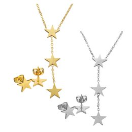 Chinese  Wedding Jewelry Star To Star Dangle Charm Cute Small Stud Earring Stainless Steel Jewelry Choker Chain Pendant Necklace Set For Women manufacturers