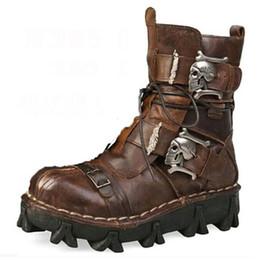 Más el tamaño de la moda de cuero de vaca cuero genuino botas militares uniforme cráneo gótico punk martin plataforma plataforma botas medio Steampunk zapatos 18D50