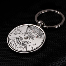 $enCountryForm.capitalKeyWord Canada - wholesale Unique Metal keychain Ring 50 Years Perpetual Calendar Key Ring Key chain Men