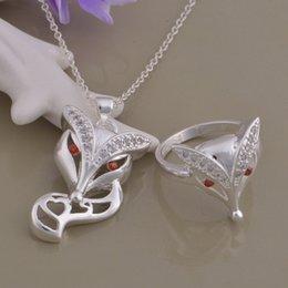 Опт 925 посеребренные костюм adicolo костюм Фокс бриллиантовое кольцо ожерелье катами Оптовая торговля