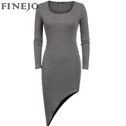 Robes De Gros En Gros Pas Cher-Vente en gros- FINEJO Brand Spring Femmes Robes Casual O-Neck Long Sleeve Slim Fit Asymétrie Mini Dress Plus Size s-xxl Noir Gris Rouge