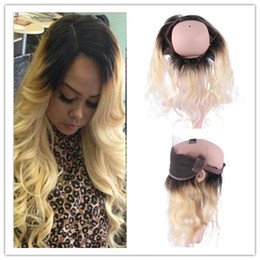 Roots Band Canada - #1B 613 Blonde Ombre Peruvian Hair 360 Lace Frontal Closure 13x4x2 Body Wave Dark Roots Blonde Ombre Full Frontal 360 Band Lace Closure