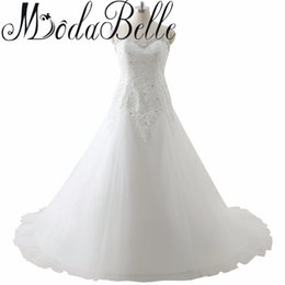 bridal robe sleeveless UK - Plus Size Wedding Dresses Lace Up Sweetheart Robe De Mariage Appliques Dress Wedding Vestidos De Novia Plus Size Bridal Skirt