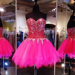 Robes De Bandage Usa Pas Cher-Hot Pink Sweetheart Crystal Robes de bal 2017 Robes de bal courte Réelle Corset Tulle Robes de graduation USA Royaume-Uni