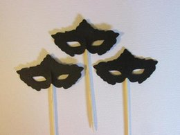 $enCountryForm.capitalKeyWord UK - Custom 30pcs Masquerade mask toothpicks engagement cupcake topper wedding food pick bachelorette bridal shower party decorations