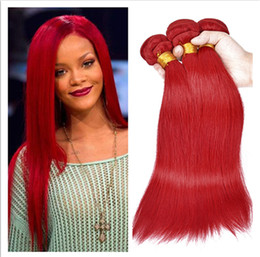 $enCountryForm.capitalKeyWord Canada - Virgin Brazilian Straight Human Hair Extensions Pure Red Color Virgin Hair Weaves 3Bundles Brazilian Human Hair Double Wefts DHL Free