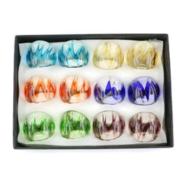 $enCountryForm.capitalKeyWord NZ - Murano glass lampwork ring Fashion Gold Sand Rings with mix size and mix colors 12pcs pack MC1009