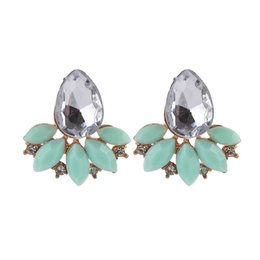 $enCountryForm.capitalKeyWord UK - Wholesale Sparkling Leaves Gemstone Stud Earrings Fashion Charm Ear Jewelry Hot New Arrival Party Style High Quality