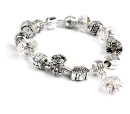 $enCountryForm.capitalKeyWord NZ - Fashion Pandora Style Charm Bracelets White Clear 925 Murano Glass & Crystal European Charm Beads Fits Charm Bracelets Bangles DIY Jewelry